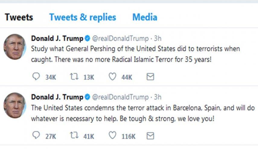 توییت جَنجالی ترامپ در واکنش به حادثه بارسلون