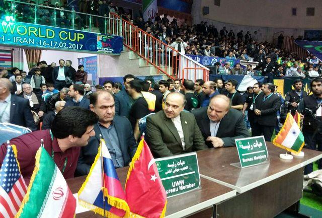 سلطانی فر در محل مسابقات جام جهانی کشتی آزاد حاضر شد