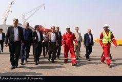 معاون وزیر راه و اعضای هیات عامل سازمان بنادر از پیشرفته ترین بندر تجاری ایران بازدید کردند