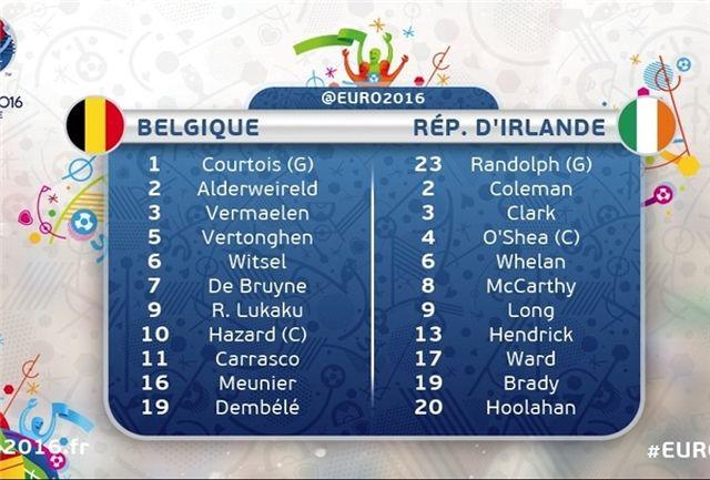 ترکیب دو تیم بلژیک و ایرلند جنوبی مشخص شد