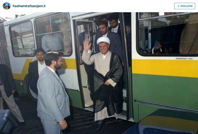 عکس دیده نشده هاشمی رفسنجانی در اتوبوس شرکت واحد
