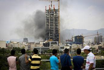 آتش سوزی کارگاه ساختمانی در تهران