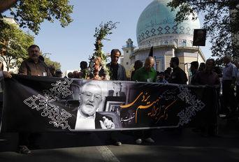 مراسم تشییع پیکر ابراهیم یزدی در حسینیه ارشاد