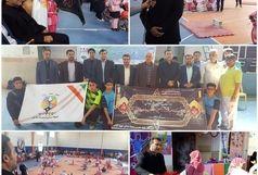 روشن شدن مشعل المپیاد ورزشی درون مدرسه ای خراسان شمالی