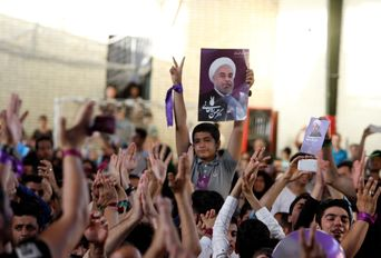 جشن پیروزی تدبیر و عقلانیت حامیان دکتر روحانی- غرب تهران
