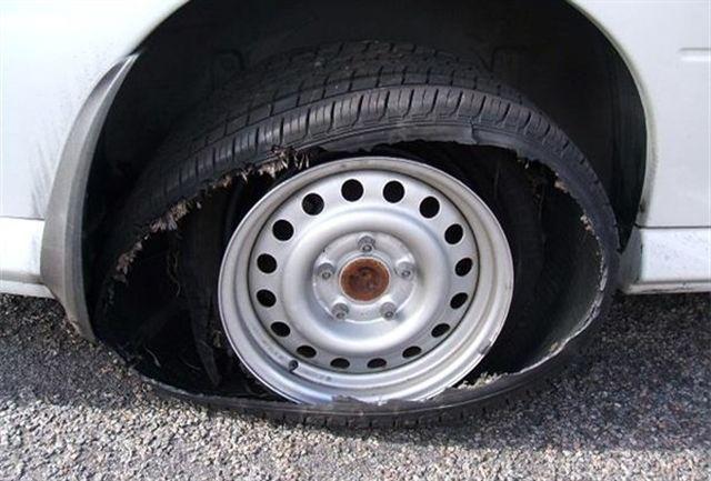 کنترل خودرو با لاستیک پنچر یا ترکیده