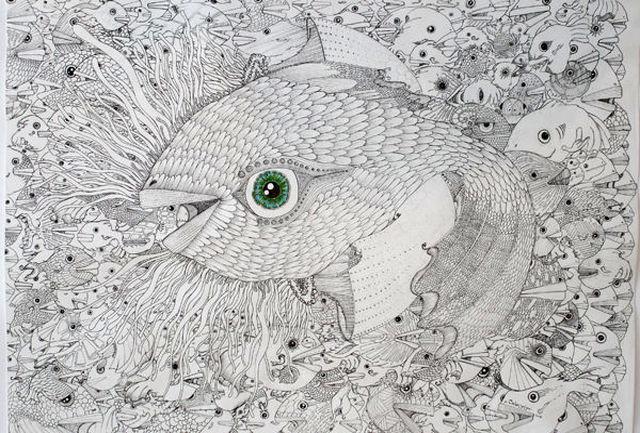 تبریک سال نو یک نقاش به مردم با تابلویی لبریز از ماهی