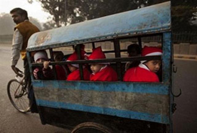 سرویس مدرسه دیدنی در هند! +عکس
