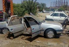 انفجار خودروی پژو به دلیل داشتن باک غیر استاندار در ایرانشهر