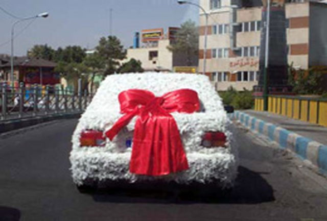 ماشین عروسی مزین به پر مرغ!