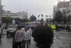 راهپیمایی روز قدس زیر بارش باران در بابل/ ببینید