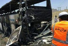 آتش سوزی اتوبوس اسکانیا در محور نیکشهر