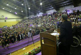سخنرانی جهانگیری در میان هواداران روحانی در رشت
